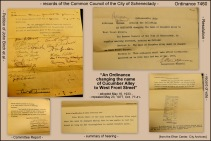 collage of documents relating to Ordinance 7460 of the Common Council of the City of Schenectaady changing the name Cucumber Alley to West Front Street - 1933