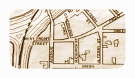 "City of Schenectady street map calling Cucumber Alley ""West Front Street"" (1932, rev'd 1942, 1966)"