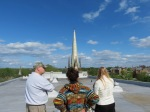 Peter, Susannah & Sylvie looking east from the roof of the Colonial Arms in the Schenectady NY Stockade –14May2013