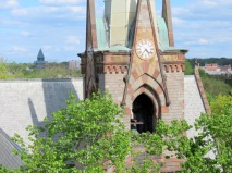 photo of portion of the 1st Reformed Church steeple in the Schenectady NY Stockade District taken from the roof of The Colonial Arms apartment building - 14May2013
