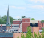 First United Methodist Church steeple and MVP headquarters – State Street – Schenectady NY17May2013