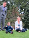 Nicholas and Mom and Dad watch the helicopter at FCSS 2013 Golf Ball Drop – 13Sep2013