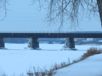 CSX train trestle between Scotia and Schenectady over the frozen  Mohawk River seen on 10Jan2014