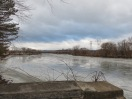 scene looking west from the end of Washington Avenue along the Mohawk River at Schenectady NY about 9 am on 12Jan2014