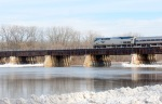Amtrak train crosses the CSX trestle heading from Schenectady to Scotia