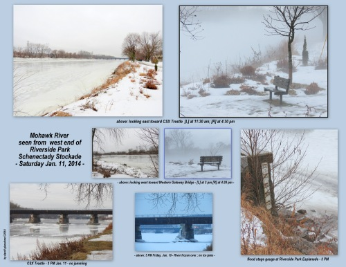 collage showing status of Mohawk Riveralong the Schenectady Stockade - 11Jan2014