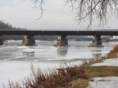 CSX trestle over the Mohawk River between Schenectady and Scotia NY seen after warm temperatures and rain - 11Jan2014