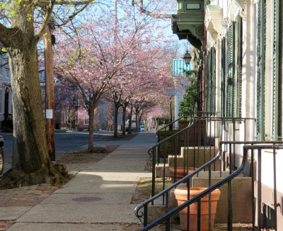 view south from Cucumber Alley up Washington Ave. in the Schenectady NY Stockade - 28Apr2014