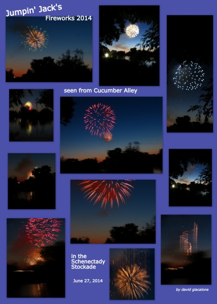 collage of fireworks photos of the Jumpin' Jack's fireworks seen from Cucumer Alley - 27Jun2014