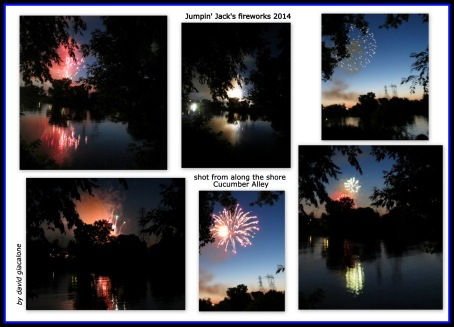 photo collage of the 2014 Jumpin' Kack's fireworks - 27Jun2014
