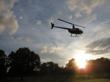 North Country Heli-flite helicopter over the Stadium olf Club for the Famit & Child Service of Schenectady's 9th Golf Ball Drop - 12Sept2114