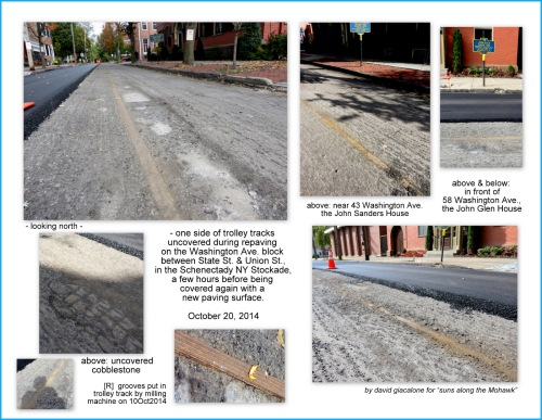 collage showing uncovered trolley track on the south end of Washington Ave. in the Schenectady Stockdade on 10Oct2014