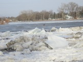 typical cluster of ice floes along riverbank
