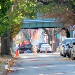 "trestle at start of ""east"" Front St. neighborhood"
