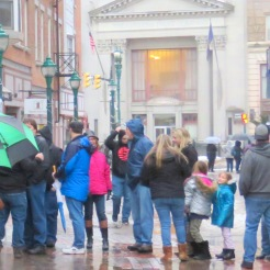 strollers on Jay St. Pedestrian Mall
